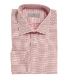Canali Red Mini Modern Fit Dress Shirt