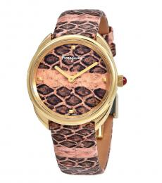 Salvatore Ferragamo Pink-Gold Cuir Watch