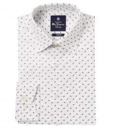 Ben Sherman White Floral Tailored Dress Shirt