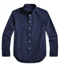 Ralph Lauren Boys Newport Navy Garment-Dyed Shirt