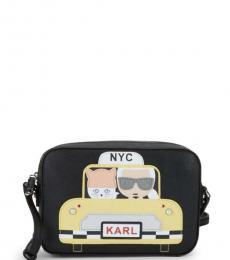 Karl Lagerfeld Black Maybelle Taxi Medium Crossbody