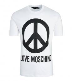 Love Moschino White Graphic Logo T-Shirt