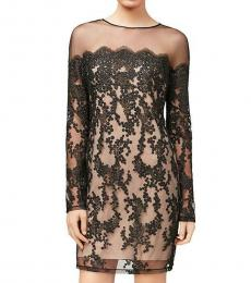 Black Lace Sheer Party Evening Dress