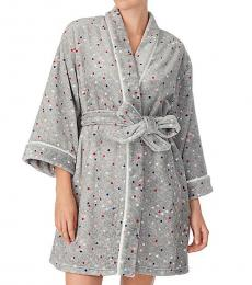 Kate Spade Grey Multicolor Dot Short Robe