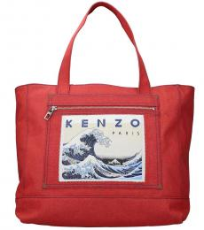 Kenzo Red Momento Collection Large Tote