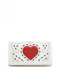 Love Moschino White Perforated Logo Wallet