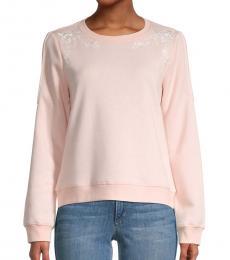 Rebecca Minkoff Light Pink Jenn Floral Embroidery Sweatshirt