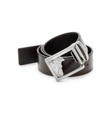 Versace Collection Dark Brown Medusa Buckle Belt