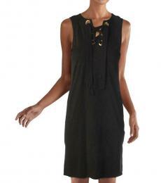 Michael Kors Black Lace-Up Shift Dress