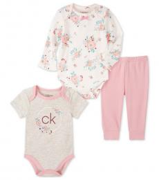 Calvin Klein 3 Piece Bodysuits/Pants Set (Baby Girls)
