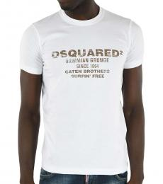 Dsquared2 White Slim Fit Print T-Shirt