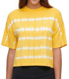 Calvin Klein Yellow Tie-Dyed Mock-Neck Top
