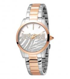 Just Cavalli Silver Logo Two Tone Watch