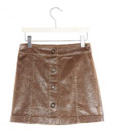 Moncler Girls Brown Lurex Button Skirt