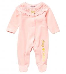 Juicy Couture Baby Girls Pink Floral Trim Velour Footie