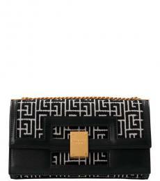 Balmain Black Geometric Pattern Medium Shoulder Bag