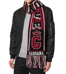 Dolce & Gabbana Black-Red Royal Love Scarf
