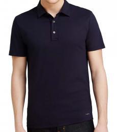 Michael Kors Navy Blue Cotton Collared Polo