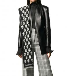 Black Reversible Wool Scarf