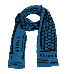 Bottega Veneta Blue Black Silk Scarf