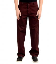 Hugo Boss Maroon Stretch Casual Pants