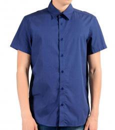 Blue Short Sleeve Cotton Shirt