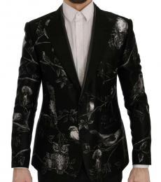 Dolce & Gabbana Black Bird Print Slim Blazer