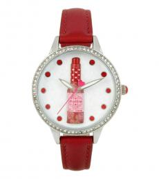 Betsey Johnson Red Sauce Crystal Watch