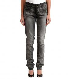 Versace Jeans Grey Polka Dot Embellished Jeans