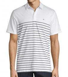 White Engineered Stripe Cotton Polo