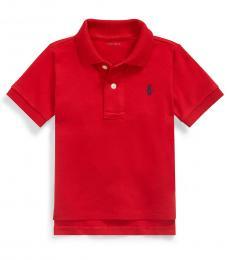 Baby Boys Red Interlock Polo