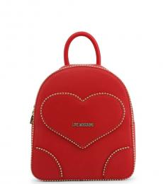 Red Studded Heart Small Backpack