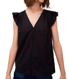 Kate Spade Black Textured Ruffle Sleeve Top