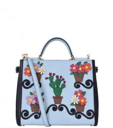 Azure Sicily Embroidered Small Satchel