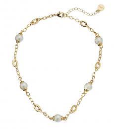 Gold Oval Link Faux Pearl Necklace