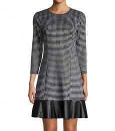 Michael Kors Black Gingham Mini A-Line Dress