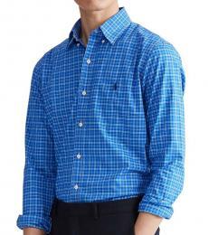 True Blue Classic-Fit Plaid Poplin Shirt