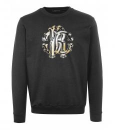 Roberto Cavalli Black Logo Graphic Sweatshirt