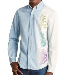Light Blue Snake Print Denim Shirt