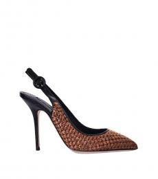 Black Raffia Slingback Heels