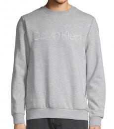 Calvin Klein Grey Logo Cotton-Blend Sweatshirt