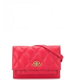 Red Quilted Logo Belt Bag