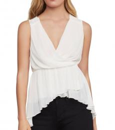 BCBGMaxazria Gardenia Pleated Faux Wrap Top