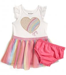 Juicy Couture Baby Girls Multicolor Rainbow Heart Tulle Skirt Dress