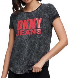 DKNY Black Acid Wash Logo T-Shirt