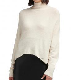 White Mock-Neck Sweater