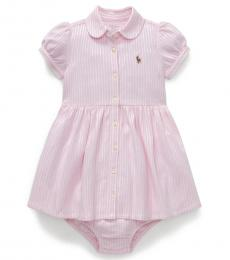 Ralph Lauren Baby Girls Pink Striped Knit Oxford Dress