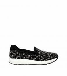 Black Studded Slip On Sneakers