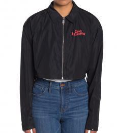 Black Logo Zip Cropped Jacket