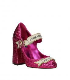 Fuchsia Glitter Heels